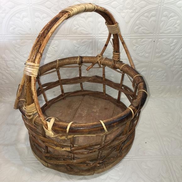Vintage Rustic Basket w/ Wood Bottom